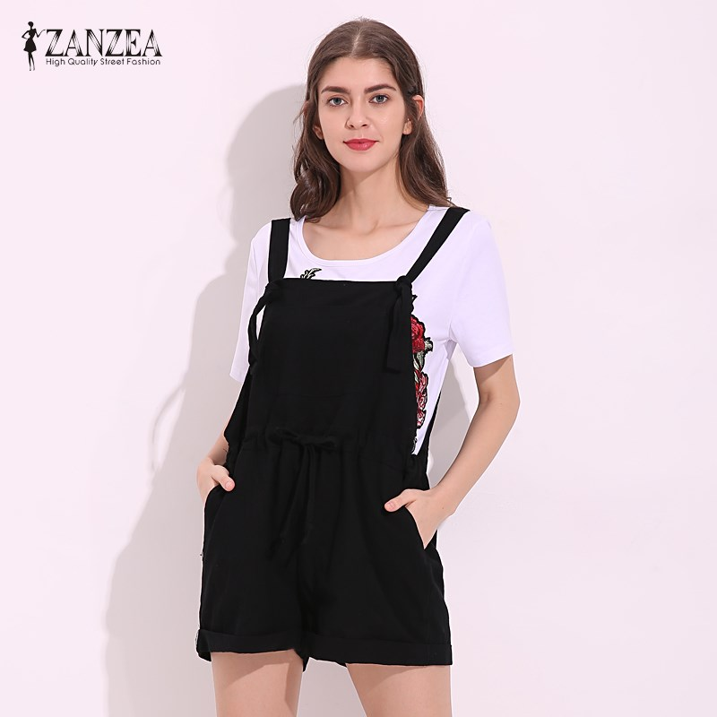ZANZEA Womens Jumpsuits 2020 New Summer Rompers Casual Pockets Loose Short Playsuits Solid Strap Overalls Plus Size Black Red