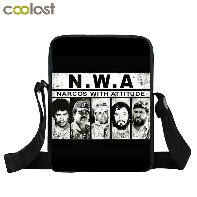 Narcos With Attitude / Pablo Escobar Narcos EL Patron Del Mal Mini Messenger Bag Women Men Crossbody Bags Hip Hop Shoulder Bag