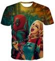 Мужчины Женщины Harajuku Тройники Рубашки Комиксов Задира Дэдпул майка Suicide Squad Харли Квинн Печатает футболки Hipster 3D футболки тройник