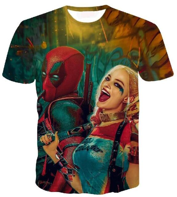 Men Women Harajuku Tees Shirts Comic Badass Deadpool t shirt Suicide Squad Harley Quinn Prints t shirts Hipster 3D tshirts tee