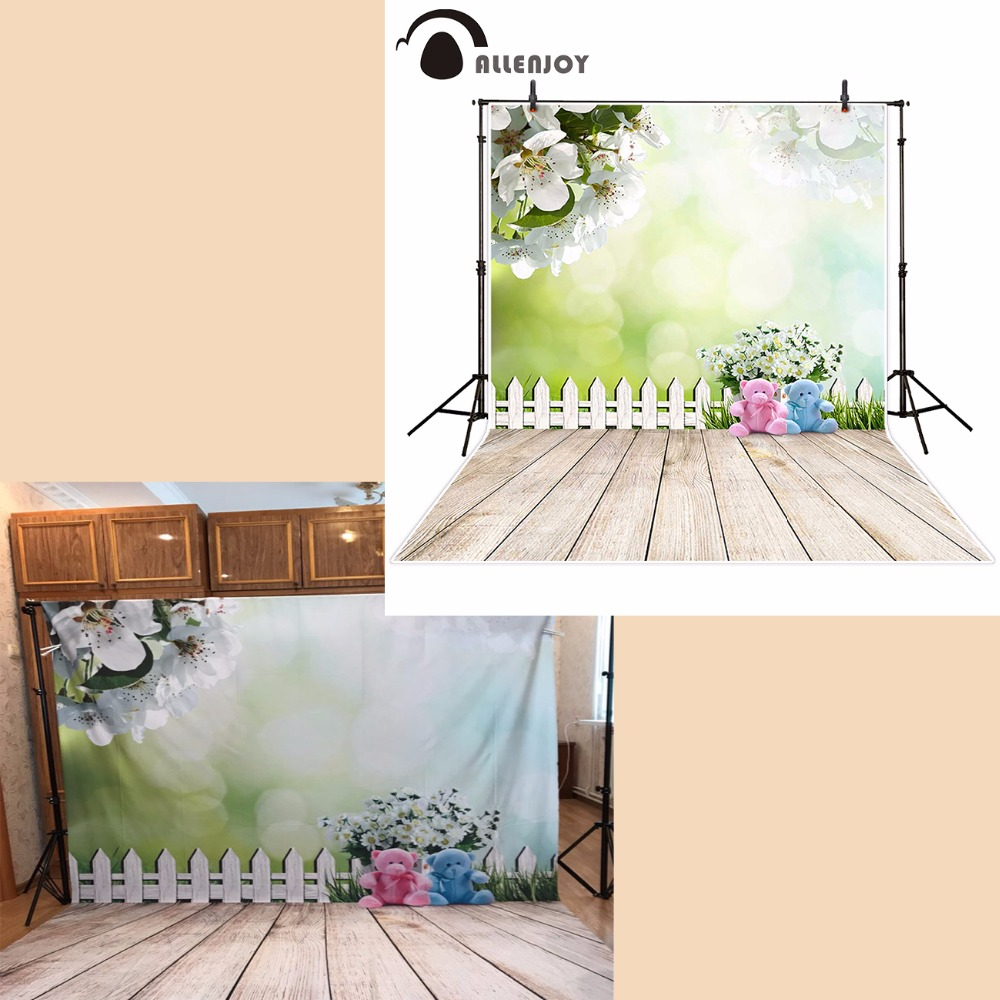 Allenjoy photographic spring background Fuzzy teddy bear flower backdrops boy christmas props scenic 10x20