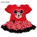 Cute Minnie Head Applique Baby Rompers Party Dresses Bebes Jumpsuits Macacao Bebe New Born Baby Clothes Toddler Girl Clothing