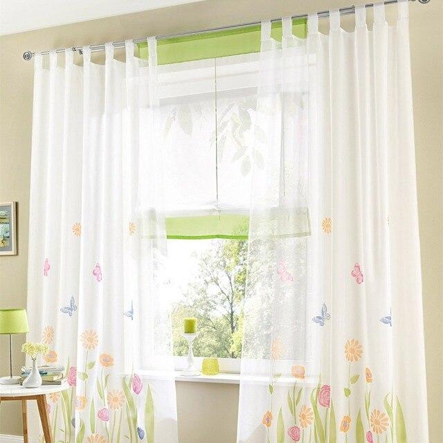 Moda tul para ventana gasa voile translucidus cortina transparente ...