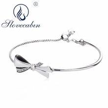 3467096d3e1a Slovecabin 925 plata esterlina 2018 arcos del Día de Madre del diseño  Zirconia cúbico brillante arco brazalete y pulsera joyería.