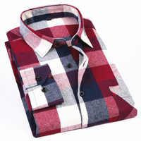 7d47c85ce90 Для Мужчин s длинный рукав фланель рубашка в клетку 100% хлопок Весна  фестиваль осень мягкие удобные
