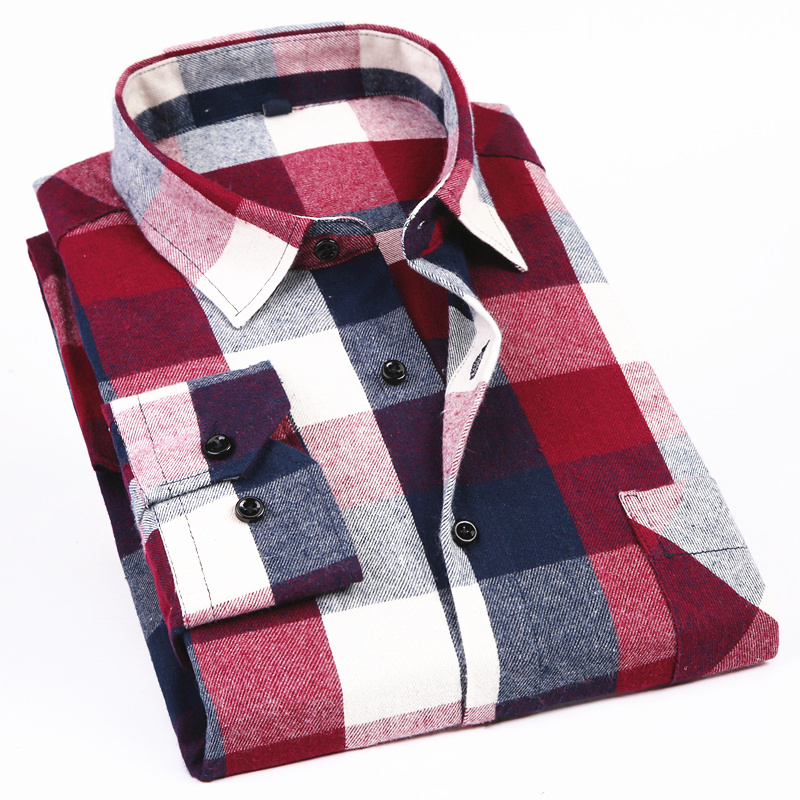 Men's Long Sleeve Flannel Plaid Shirt 100% Cotton Spring Festival Autumn Soft Comfortable Men Social Shirt Retro Casual Clothing