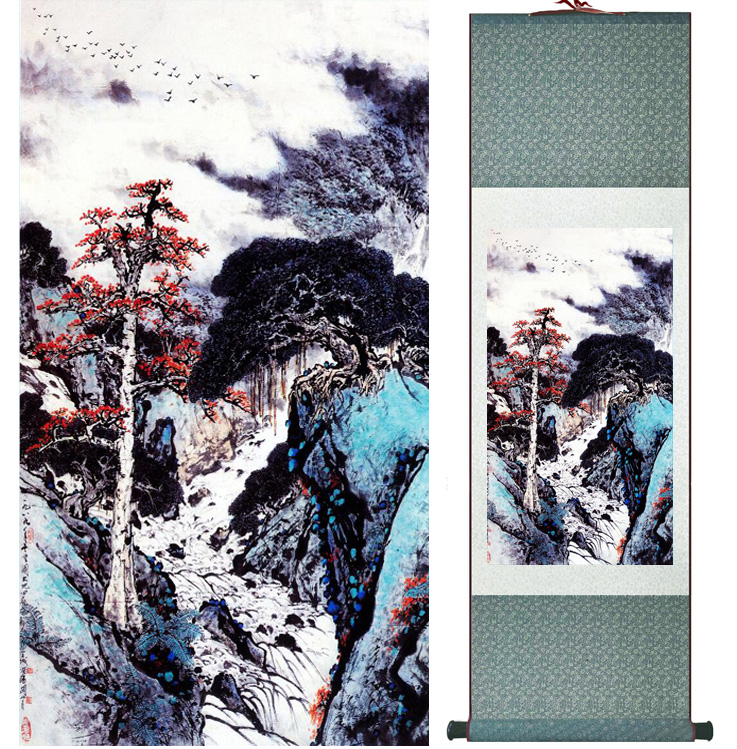 landscape painting Home Office Decoration Chinese scroll painting mountain and River paintingPrinted painting042402
