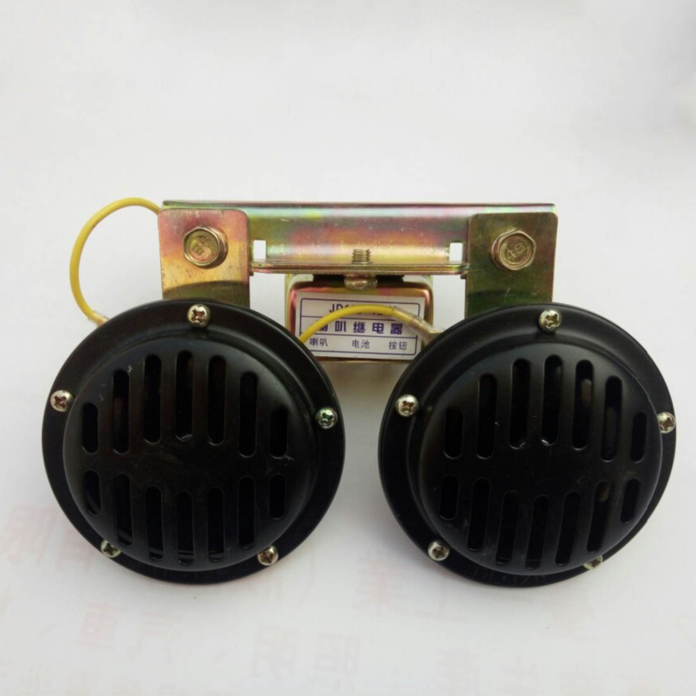 12V/24V 105dB Small Double Waterproof Car Truck General Disc Type Electric Horn Black Loudspeaker Whistle Horn 12.0x18.0cm modified motorcycle accessories refires horn trolley belt oil pump cnc general horn refires