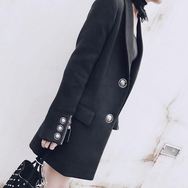 2017 negro medio-largo traje chaqueta delgada ocasional prendas de vestir exteriores femenina