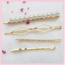4Pcs/Set Beautiful Lady Word folder Hair Accessories Mental Geometric Korean version Simulation Pearl Hairpins For Women