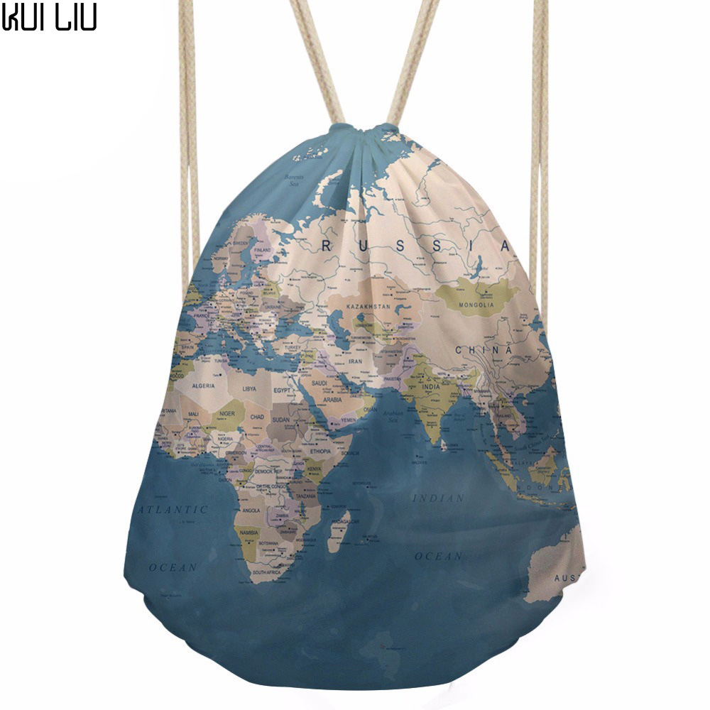 Drawstring Bag Women's 3D World Map Printing Shopping Bag Girls Mini SoftBack For Kids Daily Package Mochila Deporte