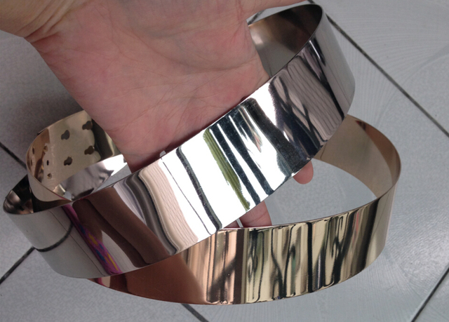 4.5 см Широкий Женщины Золото + Серебро Полный Металлическая Пластина Пояса Металлическое Зеркало Кольцо, как Корсет