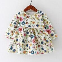 Цветочный vintage европейский рождения девочка день малыш хлопка печати длинным детская