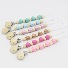 Wooden Pacifier Clip Hexagon Holder Soothie Teething Dummy Paci Baby Products Girl Boy Funny Teether Shower Gift Attache Sucette