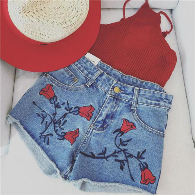 2019 Summer New Korean Style Personality Rose Embroidered High Waisted Denim   Shorts   Feminino   Short   Sexy   Shorts   Free Shipping