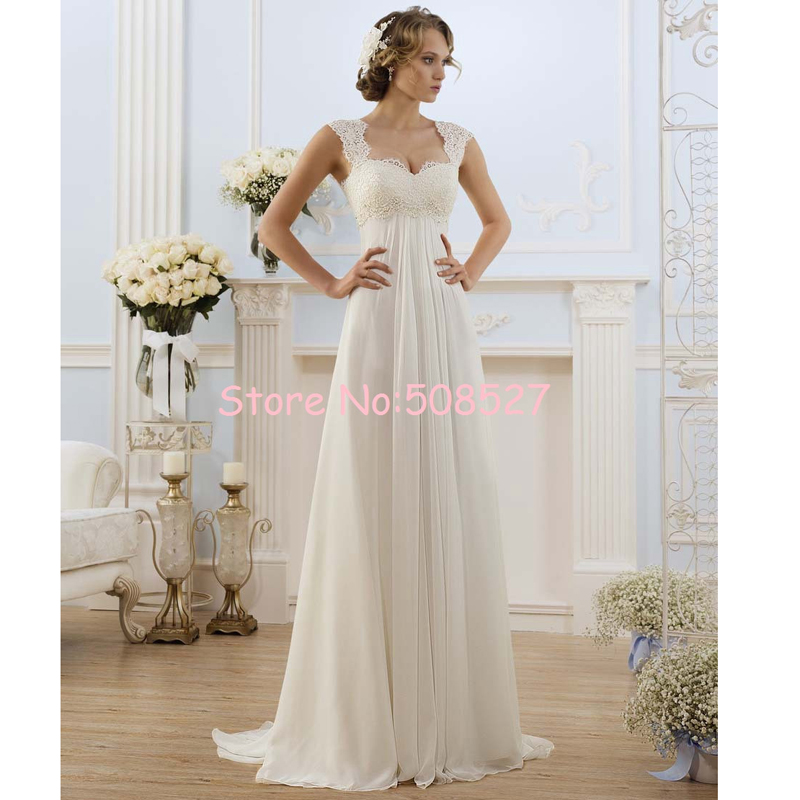 Robe De Mariage Stock White Ivory Cap Sleeve Chiffon font b Wedding b font Dresses Lace