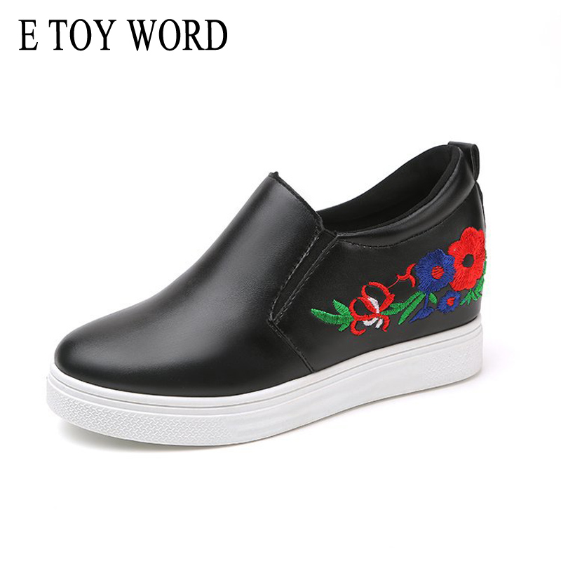 E TOY WORD Embroidery Sneaker Women 2018 Spring Casual Small white shoes Women Korean Inner Increase Flats Women Shoes e toy word canvas shoes women han edition 2017 spring cowboy increased thick soles casual shoes female side zip jeans blue 35 40