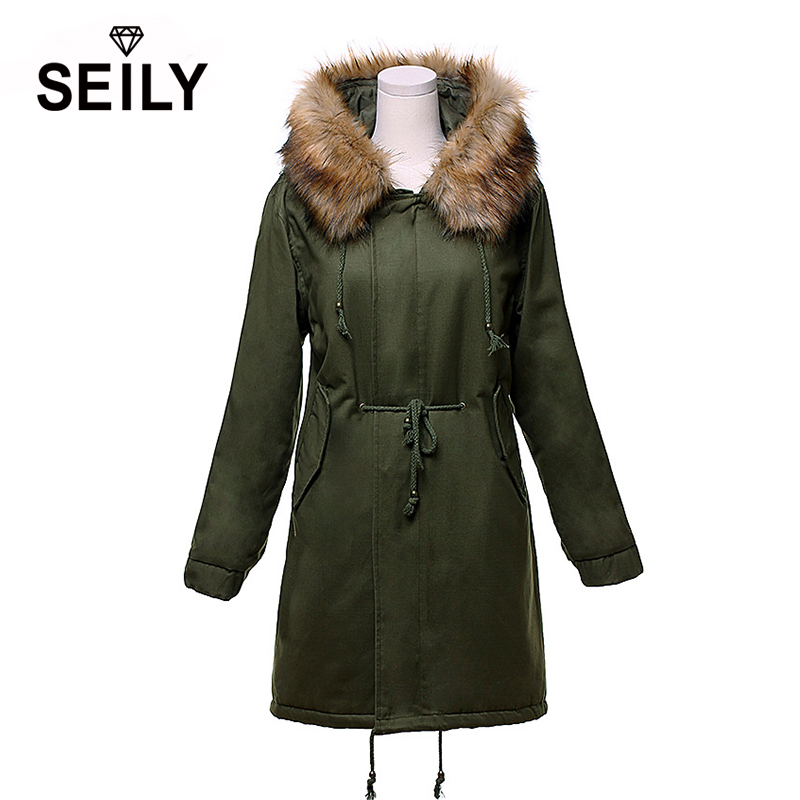 Seily Long Plus Size Winter Warm Jacket Quilted Cotton Coat Large Fur Collar Hooded Fashion Women Drawstring Windproof Parka yi la 2017 new winter fur collar hooded down cotton coat fashion women s long coat cotton warm jacket parka plus size 3xl s869