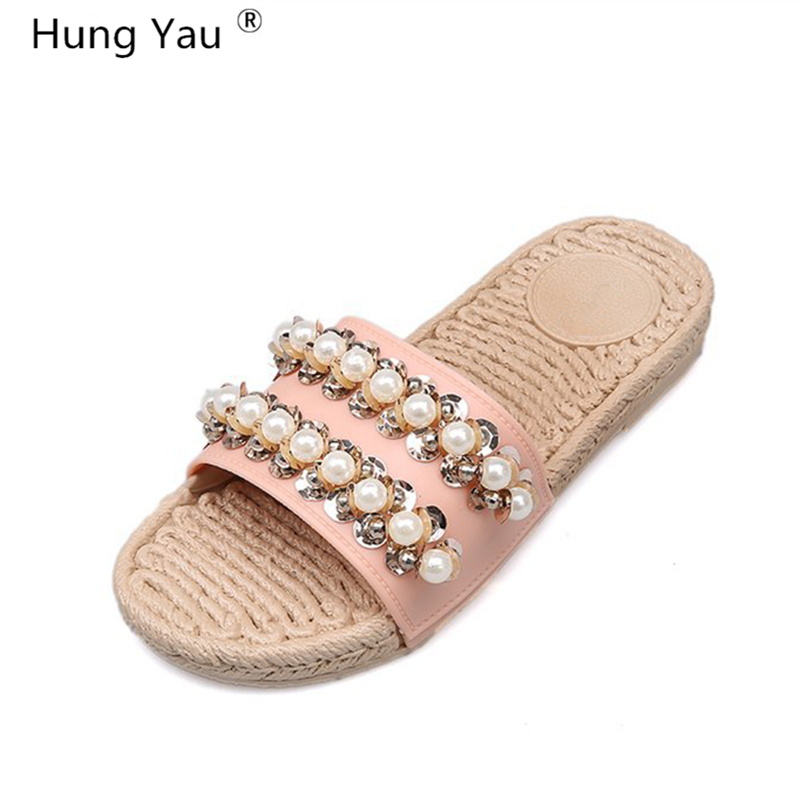 Hung Yau Shoes For Women Sandals Flat Casual Gladiator Ladies Pearl Bling Summer Sandals Rope Woven Flat Bottom Slippers Size 9 woven flat slide sandals