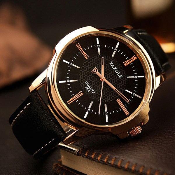 YAZOLE розовое золото наручные часы Для мужчин 2018 лучший бренд класса люкс известный для мужской часы кварцевые часы золотые наручные часы Relogio Masculino
