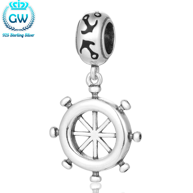 Sterling-Silver-Jewelry Ship Wheel Charm 2016 Vintage Fashion Women Jewelry Bracelet Bangle Beads & Jewelry Making S431