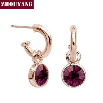 ZHOUYANG Top Quality ZYE416 Dark Purple Crystal Rose Gold Color Stud Earrings Jewelry  Austrian Crystal Wholesale