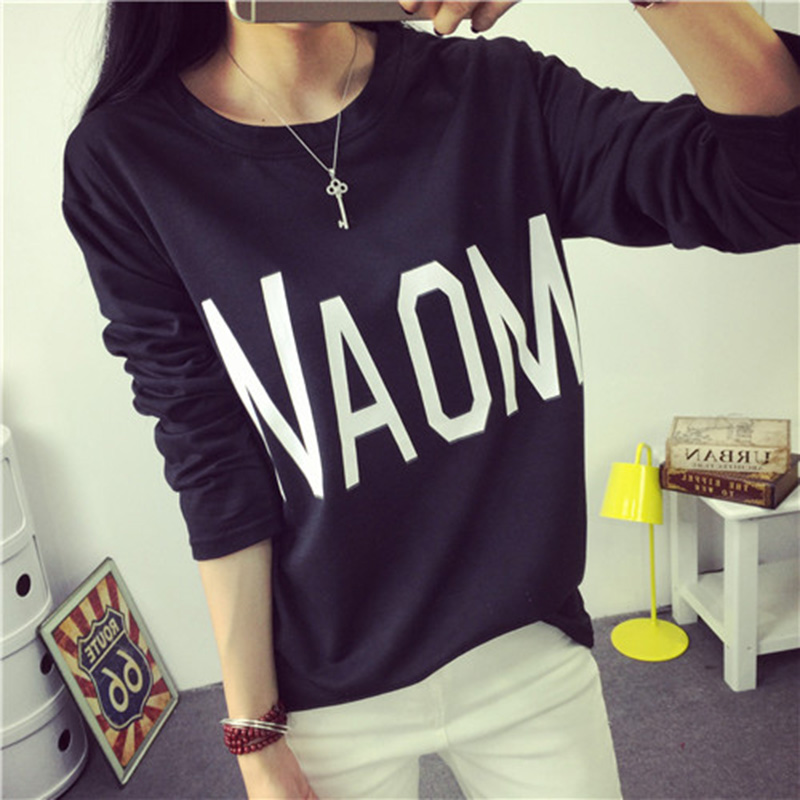 2016 long sleeve t shirt female summer loose plus size for Thin long sleeve t shirts