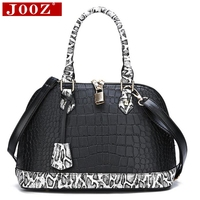 Shell pu leather ladies handbag snake stitching shoulder bag women's new fashion luxury key lock tote bag