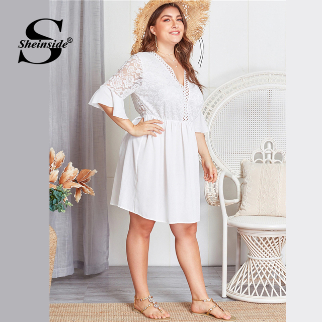Sheinside Plus Size Contrast Lace Hollowed Out V Neck Dress Women 2019 Summer Flounce Sleeve Dresses Ladies A Line Dress 3