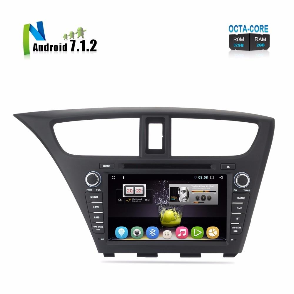 8 Android Car DVD For Civic Hatchback 2013 2014 2015 Auto PC PAD Radio FM RDS GPS Glonass Navigation Audio Video Multimedia цена