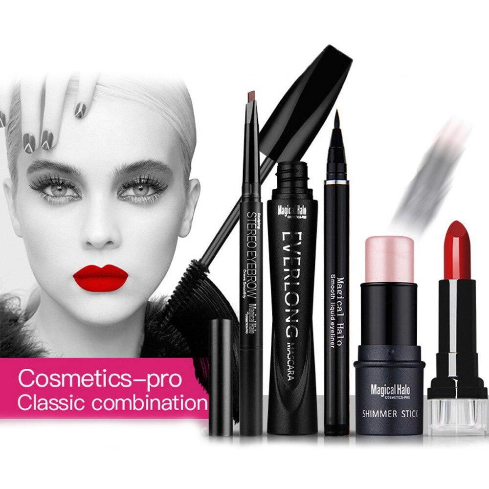 Magical Halo Makeup Set Classic Combination Mascara + Eyeliner + Shimmer stick + Eyebrow Pencil + Lipstick