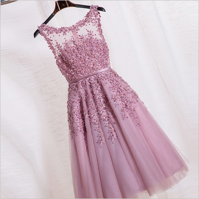 Tea Length Bridesmaid Dresses Lace Gown Party Dusty Rose Prom Dress 2016 Pearls Beading