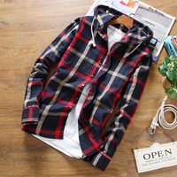 2018 Casual Plaid Men S Long Sleeved Hooded Shirt Large Size S M L 4XL 5XL