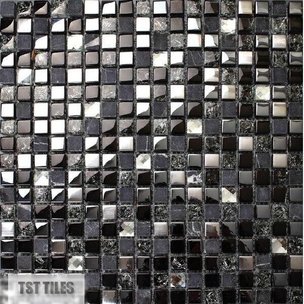 Pierre carreaux de verre bleu foncé gris noir argent Italie mosaïque ...