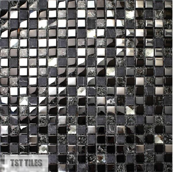 Stone Glass Tile Dark Blue Gray Black Silver Italy Mosaic Kitchen