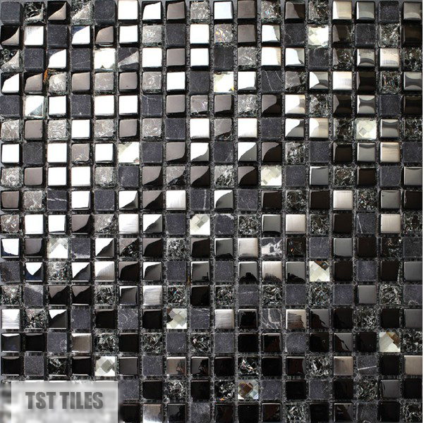 Stone Gl Tile Dark Blue Gray Black Silver Italy Mosaic Kitchen Tiles Bathroom Mirror Backsplash