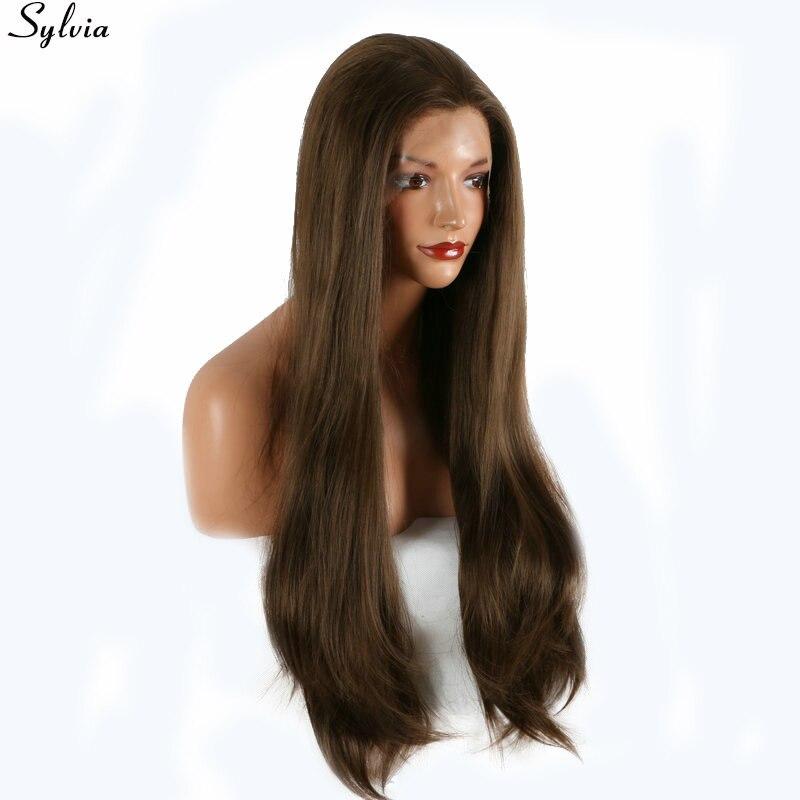 Sylvia натуральный коричневый парик высокое Температура Волокно прямые длинные волосы 8 # шоколадно-коричневый Цвет химическое Синтетические ...