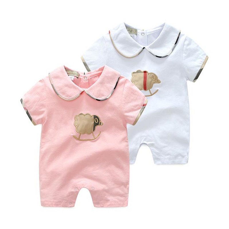 Newborn Baby Girls Romper Cotton Short Sleeve Infant Boys Jumpsuits Pajama White Turn-Down Neck Toddler Overalls Children Outfit