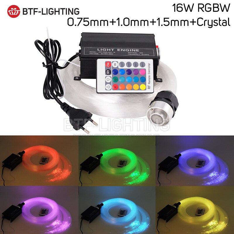 16 W RGBW 0.75mm + 1.0mm + 1.5mm + cristal mélange LED Fiber optique étoile plafond Kit éclairage + RF 24key moteur à distance