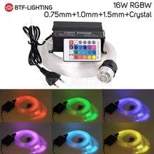 16W RGBW 0.75mm + 1.0mm + 1.5mm + 크리스탈 믹스 LED 광섬유 스타 천장 키트 조명 + RF 24key 원격 엔진