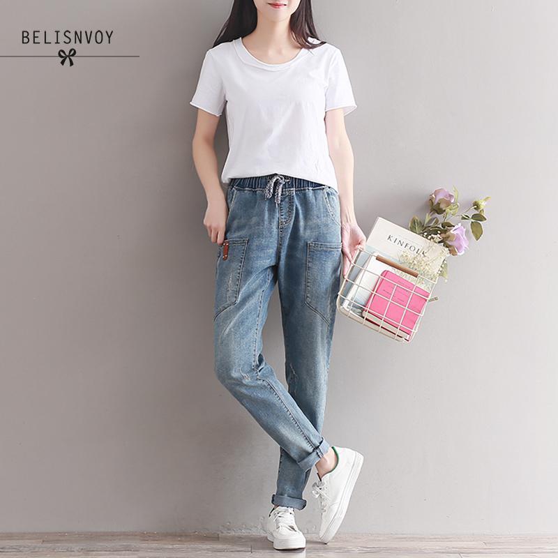 2019 Winter Brand Jeans Women Harem Pants Fashion Trousers Long Vintage Pocket Plus Size Boyfriend Jeans Female Denim Pants