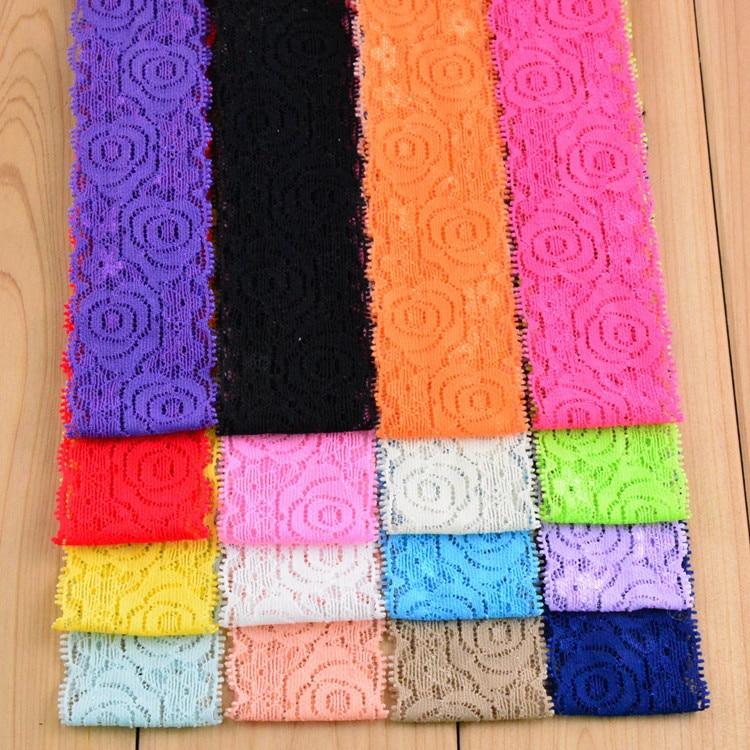 180 шт./лот, повязка на голову, кружевные эластичные волосы для девочек, 12 цветов на выбор