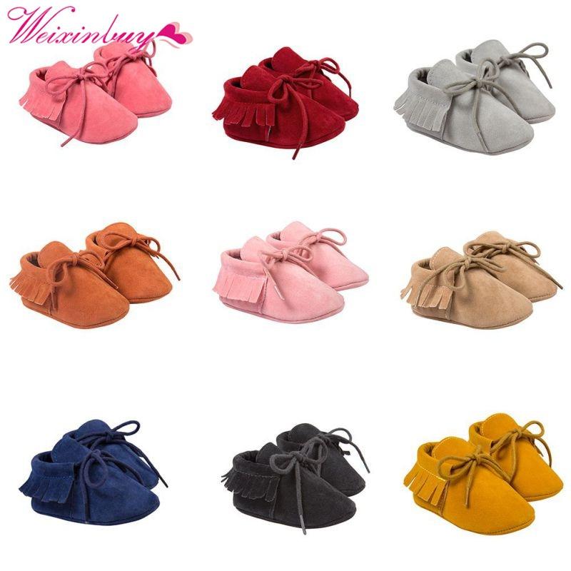 Newborn Moccasins Baby Infant Boy Girl Tassel Scrub Shoes Toddler Soft Sole Crib Slip-On Pre-walker Infant Coral Velvet