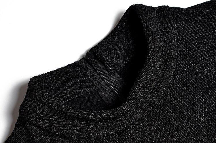 Noir Vêtements Perlée À Les Pour Manches Roulé Femmes Élégant Lady Office Robes Robe Col D'affaires Longues Perle Fente Parti Sexy TwdqAB