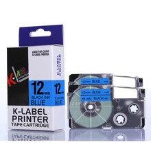2PCS/ lot 12mm Black on blue ribbon XR 12BU XR12BU XR-12BU for Ez label printers
