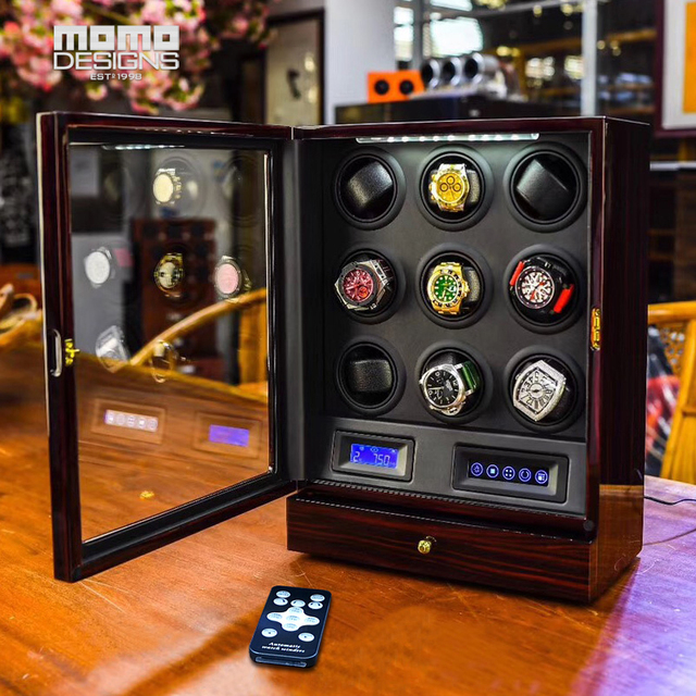 High-end Watch winder 9 Automatic watches box Multi-function LCD touch screen TPD mode Wood watch storage box for Birthday gift
