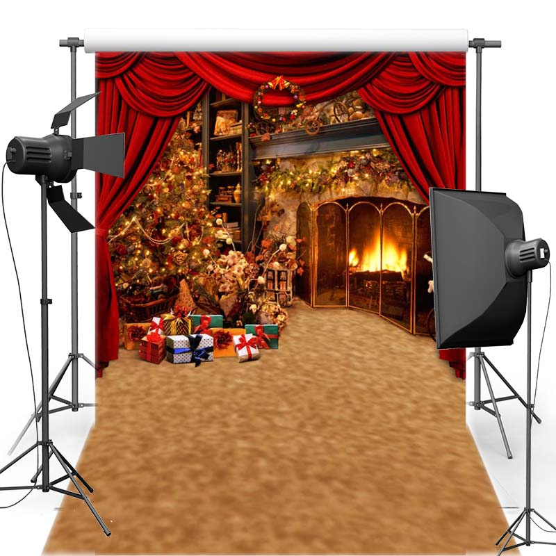 MEHOFOTO New Year Christmas Vinyl Photography Background Curtain For Children New Fabric Flannel Backdrop For Photo Shoot 6381