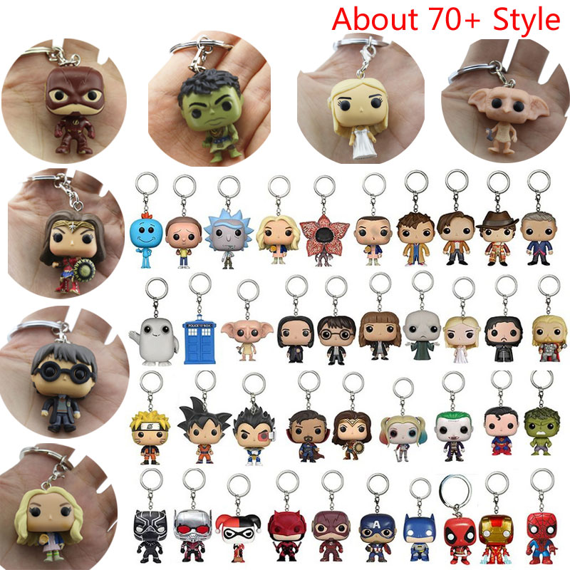 Action Figure Stranger Things Harry Potter Game Of Thrones Venom Aquaman Toys Cute Keychain Collection Model Toys Ironman Dolls