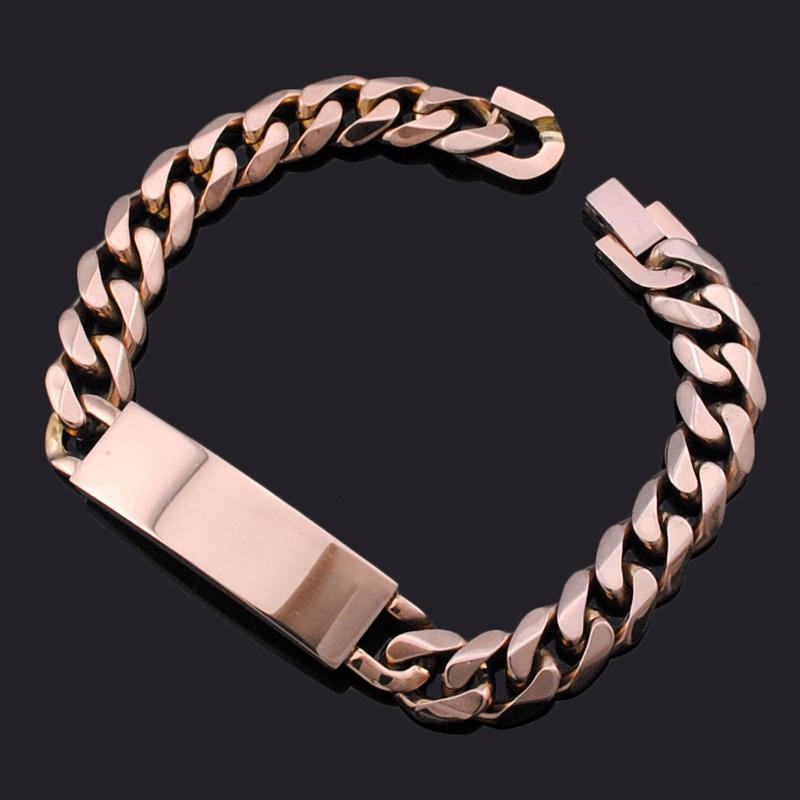 ATGO Men's ID Bracelet 316L Stainless Steel Brown Bracelet Men Jewelry BB490