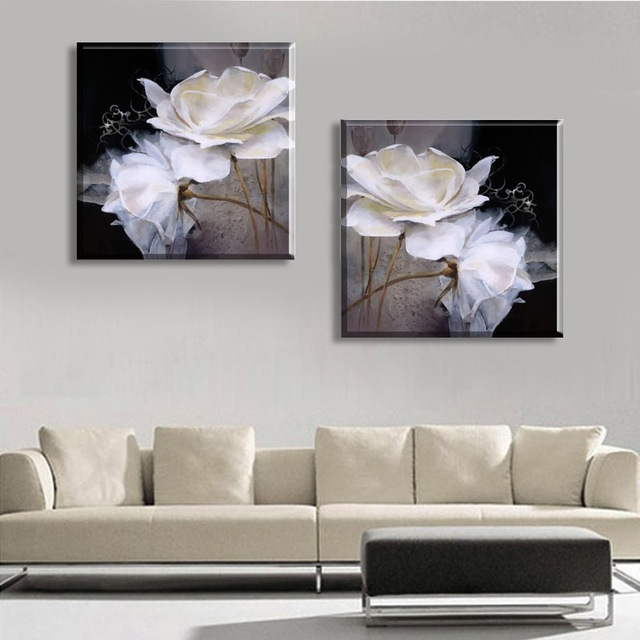 Black And White 2 Panel Contemporary Canvas Oil Painting Abstract Decorative  Wall Art Pictures No Frame